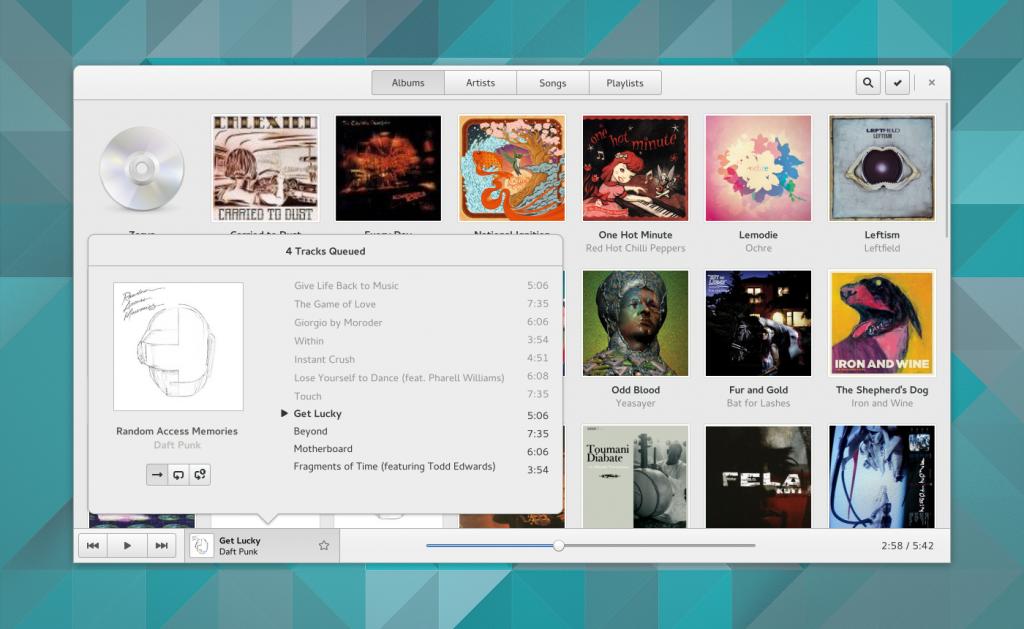 Gnome music play queue options