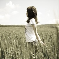 Girl-Alone-In-Cornfield-Wallpaper