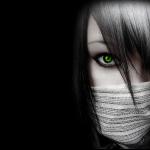 Green-Eyes-GIrl-Black-Wallpaper