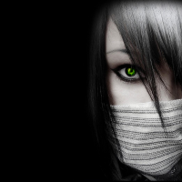 Green-Eyes-GIrl-Black-Wallpaper