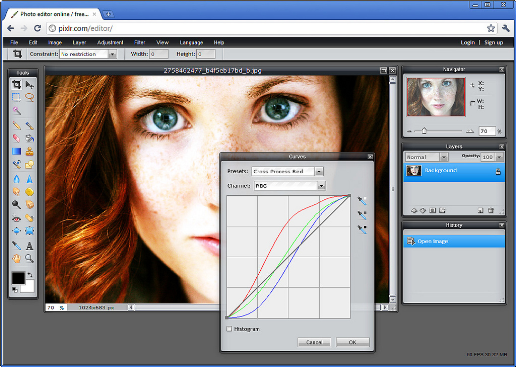 Use Pixlr – The closest thing you will get to Photoshop Online