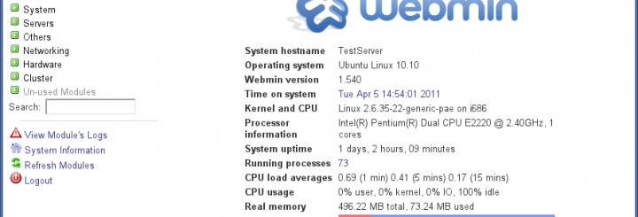Webmin GUI for Ubuntu