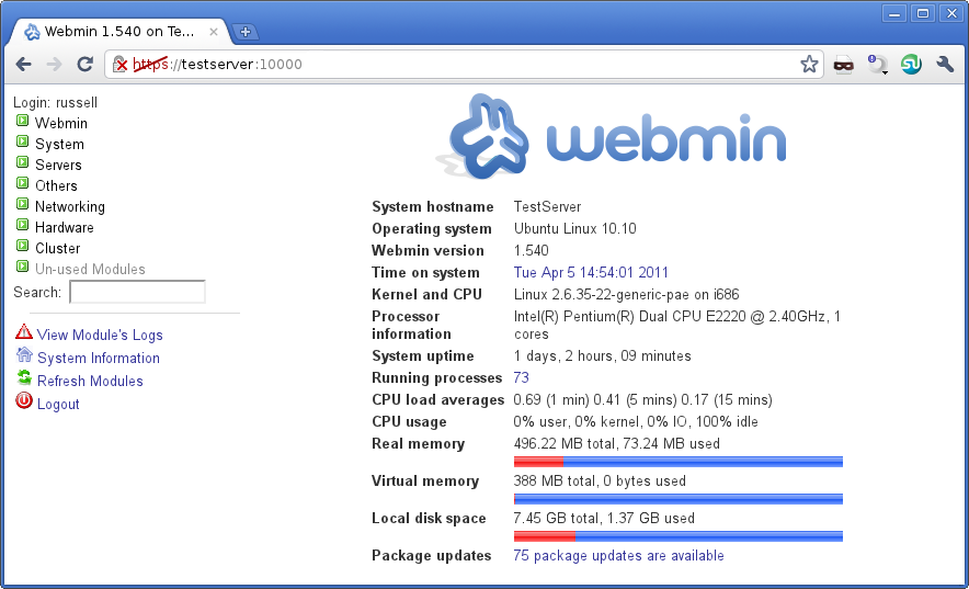Webmin GUI for Ubuntu