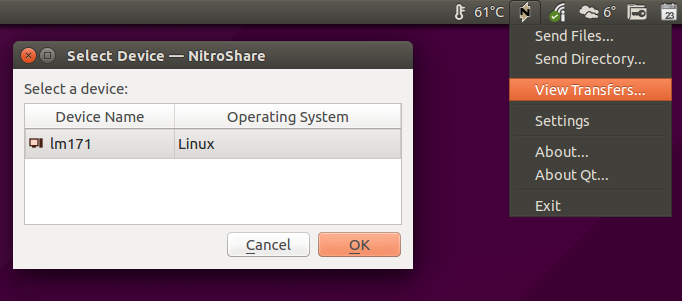 NitroShare view device screenshot