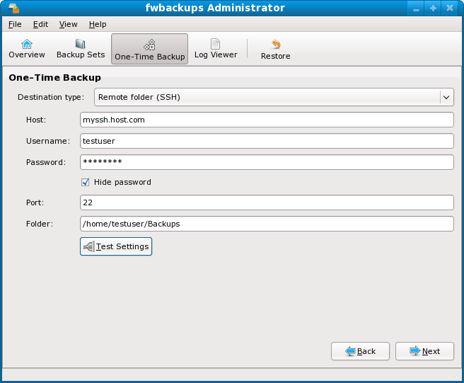 Fwbackups Remote Backup option