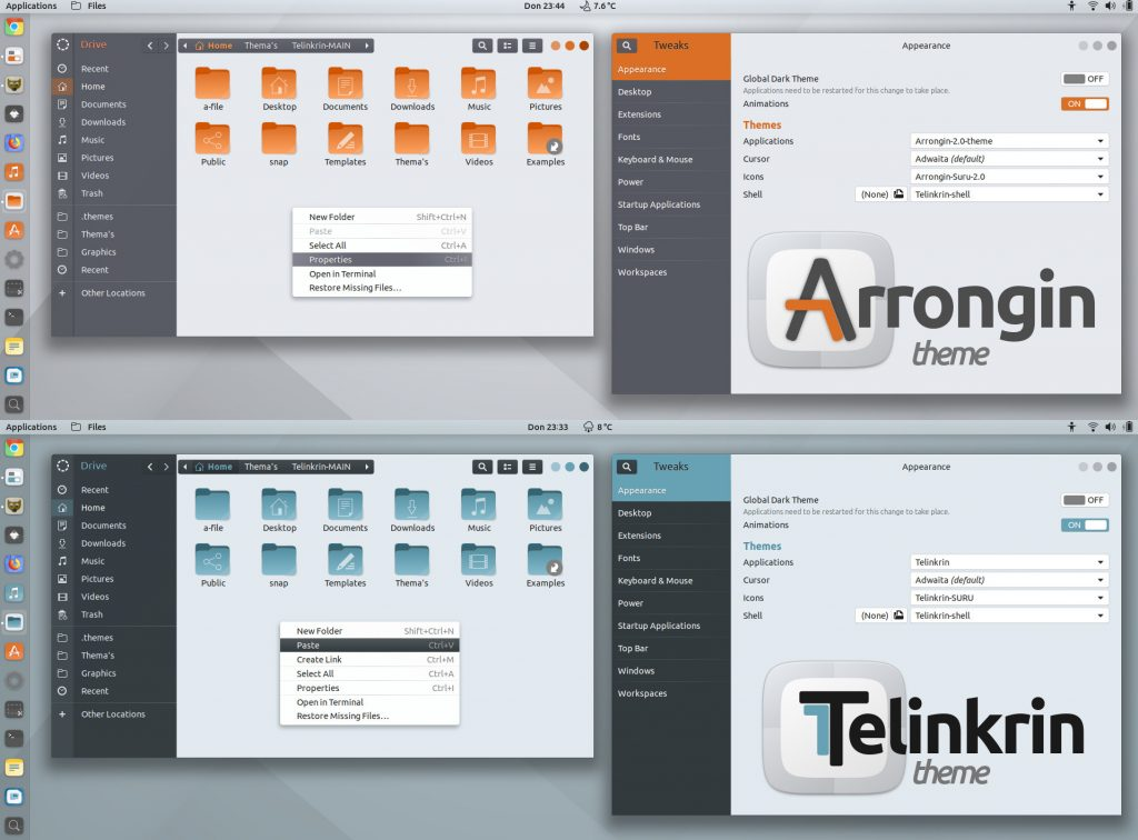 Telinkrin and Arrongin theme screenshot