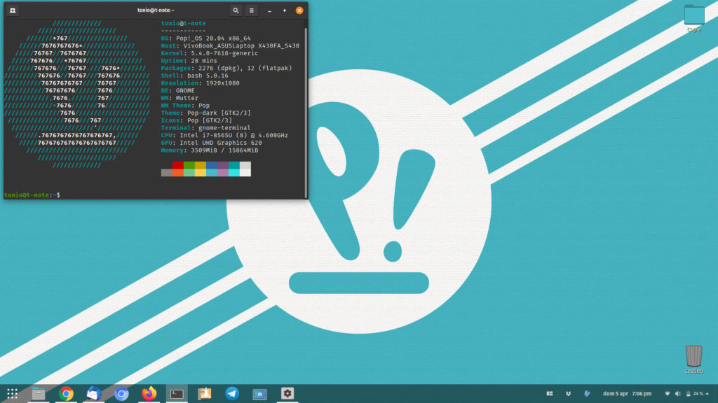 Pop!_OS 20.04 Desktop Layout