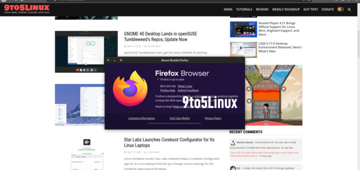 Firefox 88 Is Now Available for Download, Enables WebRender for KDE/Xfce Intel/AMD Users - 9to5Linux